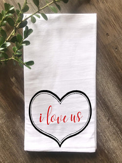 I Love Us Vintage Heart Flour Sack Tea Towel - Returning Grace Designs