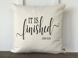 It is Finished John 19:30 Scritpure Pillow Cover - Returning Grace Designs
