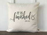 It is Finished John 19:30 Scritpure with Crown of Thorns Pillow Cover - Returning Grace Designs