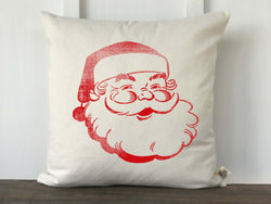 Jolly Vintage Santa Pillow Cover in Red - Returning Grace Designs