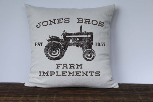 Farmhouse Pillow Cover - Personalized Farm Pillow Cover - Jones Bros Farm Implements - Returning Grace Designs