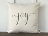 Joy Script Farmhouse Christmas Pillow Cover - Returning Grace Designs