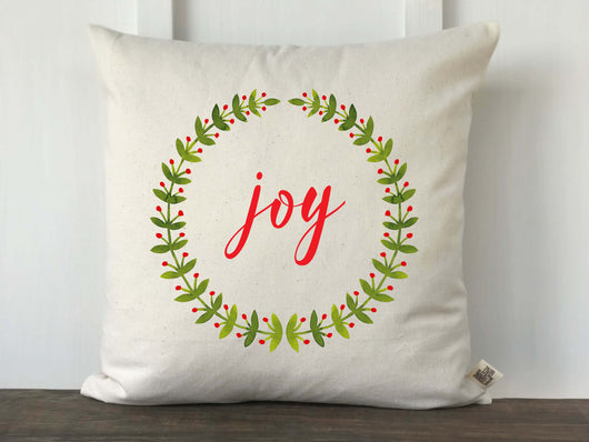 Joy Watercolor Laurel Wreath Christmas Pillow - Returning Grace Designs