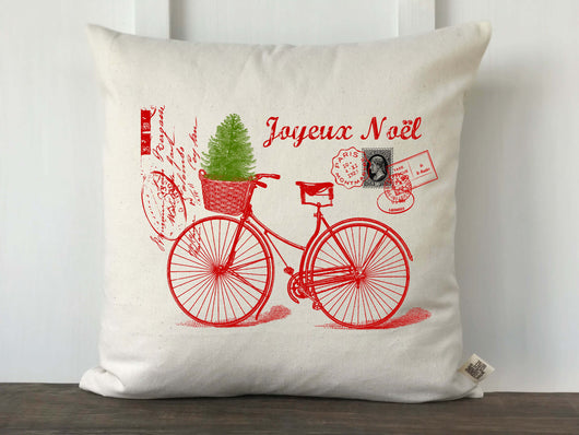 Joyeux Noel French Bicycle Pillow Cover - Returning Grace Designs