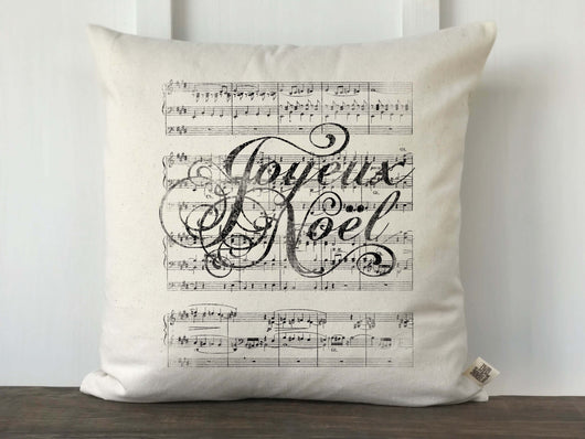 Joyeux Noel Sheet Music Pillow Cover