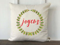 Joyeux Watercolor Laurel Wreath Christmas Pillow - Returning Grace Designs