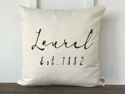 City and Established Year Pillow Cover, French Script - Returning Grace Designs