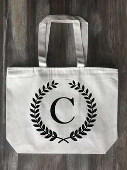 Laurel Wreath Personalized Initial Canvas Zippered Tote - Returning Grace Designs