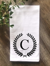 Laurel Wreath Monogram Flour Sack Tea Towel - Initial Only - Returning Grace Designs
