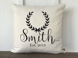 Laurel Wreath Accent Personalized Pillow Cover - Returning Grace Designs