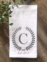 Laurel Wreath Monogram Flour Sack Tea Towel with Initial and Year Established - Returning Grace Designs