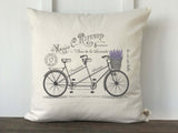 French Lavender Bicycle Pillow Cover - Returning Grace Designs