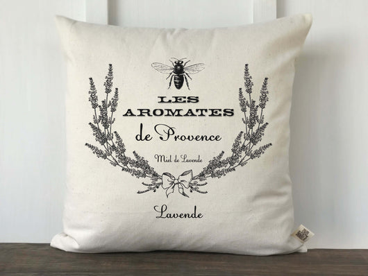 French Farmhouse Lavender Wreath Bee Graphic Canvas Pillow Cover - Returning Grace Designs