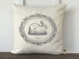 French Bunny in Vintage Frame Pillow Cover - Returning Grace Designs