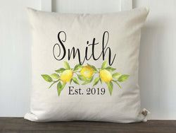 Lemon Watercolor Personalized Pillow Cover - Returning Grace Designs