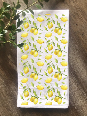 Lemon Pattern Floursack Tea Towel - Returning Grace Designs