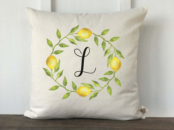 Lemon Wreath Initial Pillow Cover - Returning Grace Designs