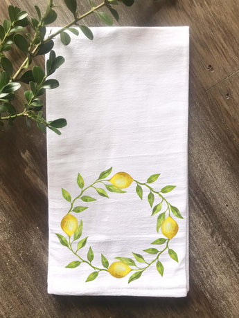 Lemon Wreath Floursack Tea Towel - Returning Grace Designs