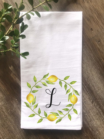 Lemon Wreath Initial Floursack Tea Towel - Returning Grace Designs
