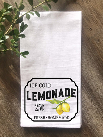 Lemonade Sign with Vintage Lemons Flour Sack Tea Towel - Returning Grace Designs