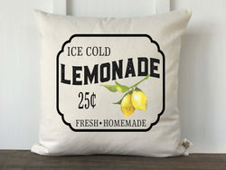 Lemonade Sign Vintage Lemon Pillow Cover - Returning Grace Designs