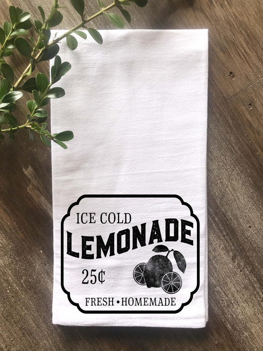 Lemonade Sign Flour Sack Tea Towel - Returning Grace Designs