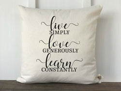 Live Love Learn Pillow Cover