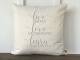Live Love Learn Pillow Cover - Returning Grace Designs
