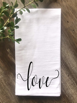 Love Script Flour Sack Tea Towel - Returning Grace Designs