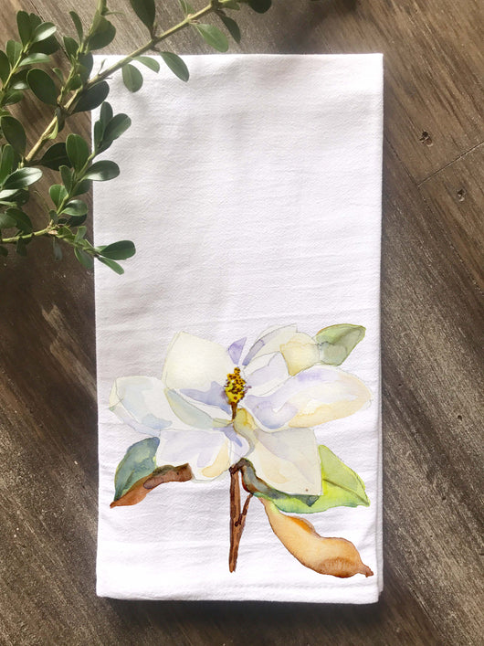 Magnolia Watercolor Floursack Towel - Returning Grace Designs