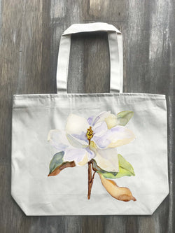 Magnolia Watercolor Canvas Zippered Tote - Returning Grace Designs
