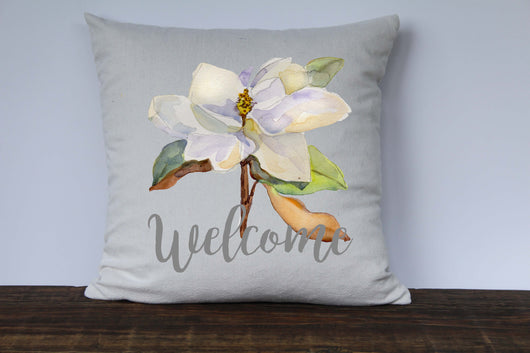 Magnolia Watercolor Welcome Canvas Pillow Cover - Returning Grace Designs