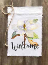 Magnolia Watercolor Welcome Canvas Sign - Gray or Black Font - Returning Grace Designs