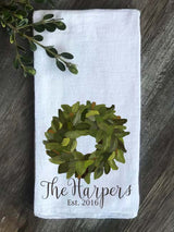 Magnolia Wreath Personalized Last Name and Est Date Flour Sack Towel - Returning Grace Designs
