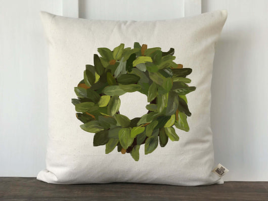 Magnolia Wreath Watercolor Pillow Cover - Returning Grace Designs