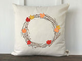 Fall Maple Leaf Wreath Pillow Cover - Returning Grace Designs