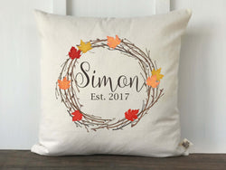 Personalized Fall Maple Wreath Pillow Cover - Returning Grace Designs