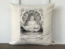Mary and Jesus Vintage French Prayer Card Christmas Pillow Cover - Returning Grace Designs