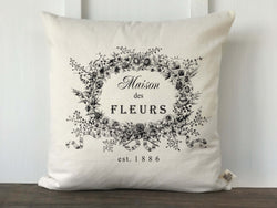 Maison Des Fleurs Vintage French Graphic Canvas Pillow Cover - Returning Grace Designs