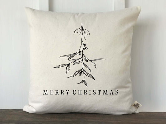 Merry Christmas Handrawn Mistletoe Pillow Cover - Returning Grace Designs