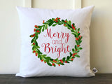 Merry and Bright Watercolor Holly Wreath Farmhouse Pillow Cover - Returning Grace Designs