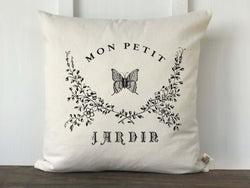 French Farmhouse Mon Petit Jardin Butterfly Pillow Cover - Returning Grace Designs