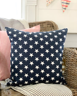 Navy with White Stars Pillow Cover - Returning Grace Designs