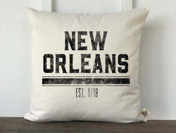 City and Year Established Pillow Cover, Block Distressed