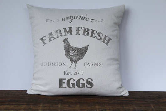 Organic Farm Fresh Eggs Personalized Farm Name Pillow Cover - Returning Grace Designs