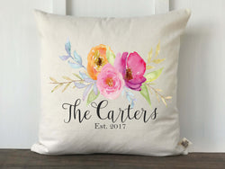 Personalized Watercolor Floral Pillow Cover - Returning Grace Designs