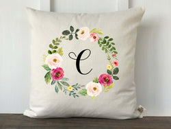 Pink Watercolor Wreath Monogrammed Pillow Cover - Returning Grace Designs