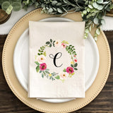 Pink Watercolor Wreath Monogrammed Napkins