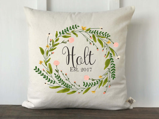 Spring Wreath Floral Watercolor Personalized Pillow Cover - Returning Grace Designs