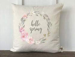Hello Spring Pink and Gray Wreath Pillow Cover - Returning Grace Designs